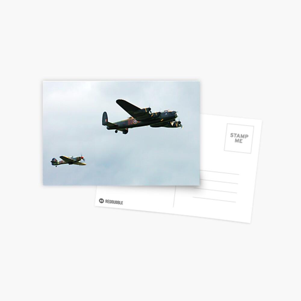 Lancaster with Hurricane escort Postcard