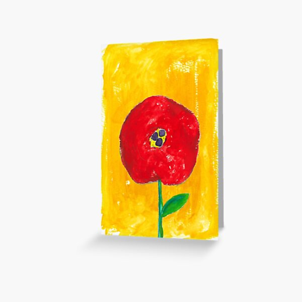 Red Flower in Sunny Wash Greeting Card