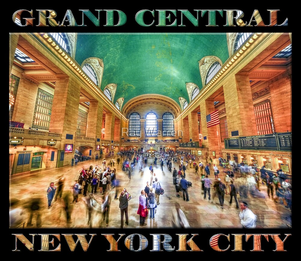 Grand Central Rush Souvenir Poster edition (on black) by Ray Warren