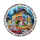 Times Square New York City Grand Badge Emblem (on white) by Ray Warren