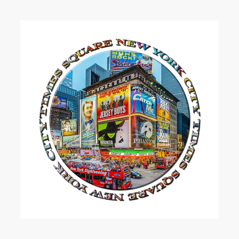 Times Square New York City Grand Badge Emblem (on white) Photographic Print