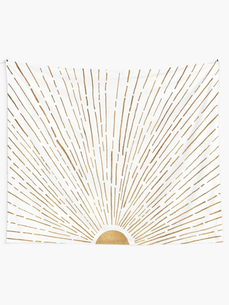 Alternate view of White Gold Sunset Tapestry