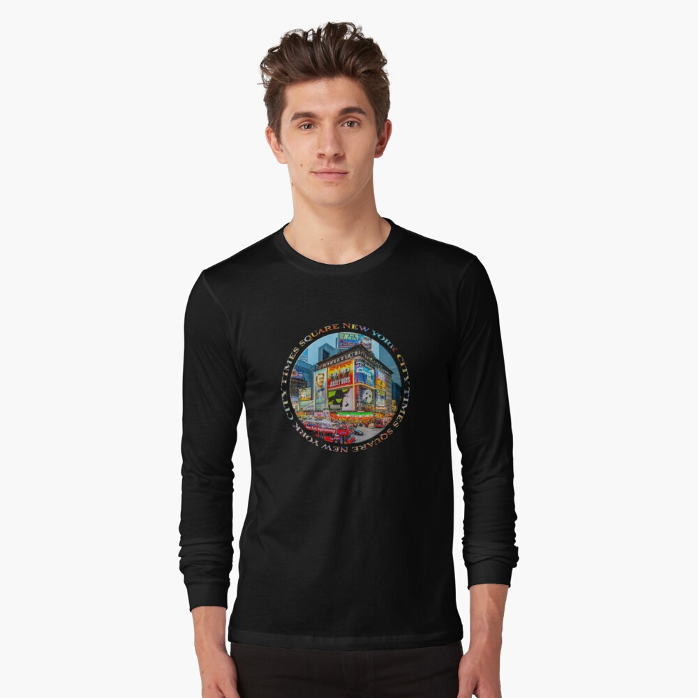 Times Square New York City Grand Badge Emblem (on black) Long Sleeve T-Shirt