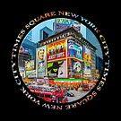 Times Square New York City Grand Badge Emblem (on black) by Ray Warren