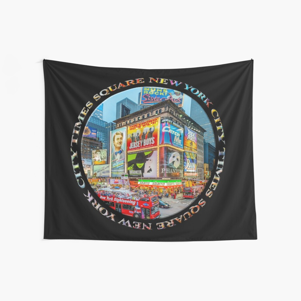 Times Square New York City Grand Badge Emblem (on black) Wall Tapestry