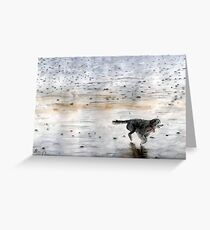 Dog Running On The Beach Watercolor Greeting Card