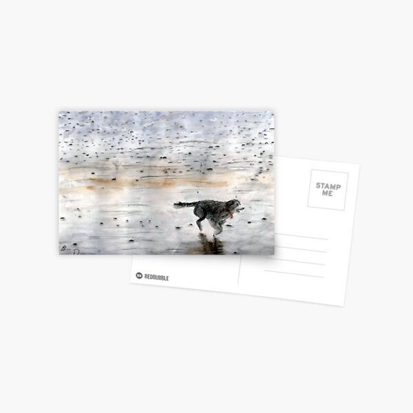 Dog Running On The Beach Watercolor Postcard