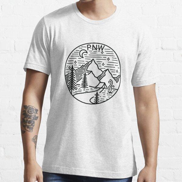 PNW Pacific Northwest Oregon Washington Geometric Mountain Trees Stars Moon Design Essential T-Shirt