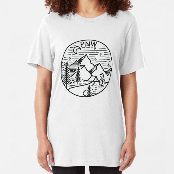 PNW Pacific Northwest Oregon Washington Geometric Mountain Trees Stars Moon Design Slim Fit T-Shirt