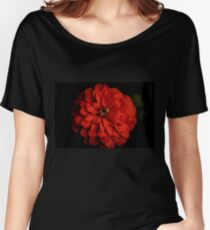 Red Zinnia On Black Women's Relaxed Fit T-Shirt