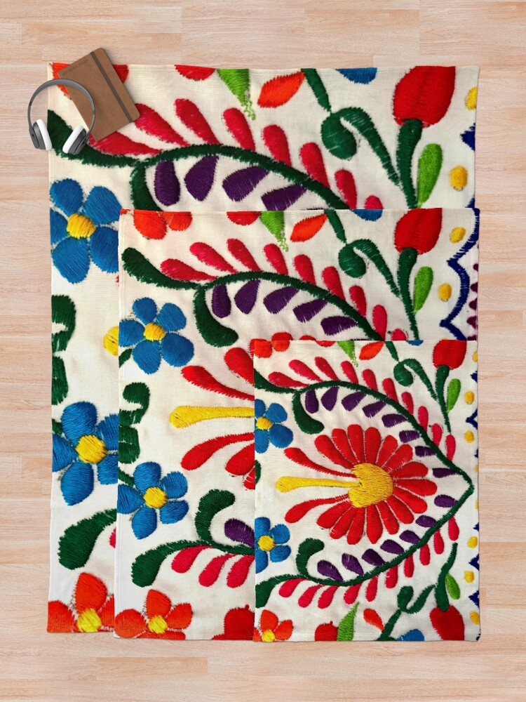 Alternate view of Mexican Flowers Throw Blanket