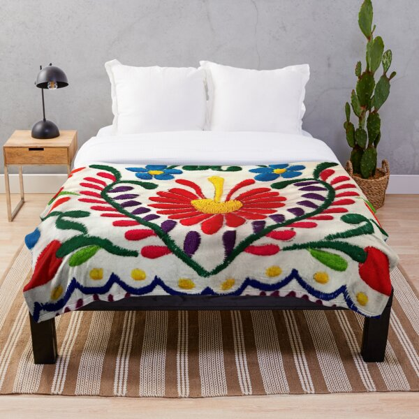 Mexican Flowers Throw Blanket