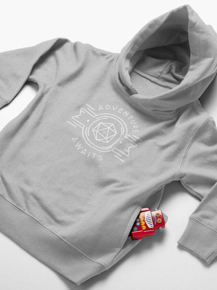 Alternate view of Adventure Awaits Polyhedral D20 Dice Tabletop RPG Addict Toddler Pullover Hoodie