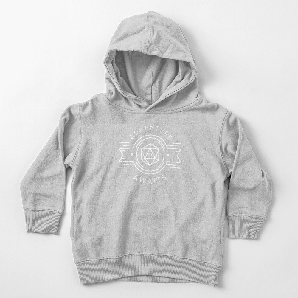 Adventure Awaits Polyhedral D20 Dice Tabletop RPG Addict Toddler Pullover Hoodie