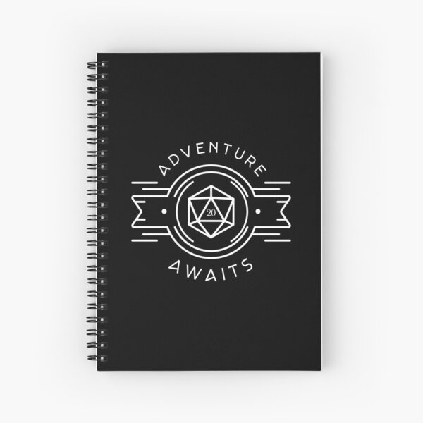 Adventure Awaits Polyhedral D20 Dice Tabletop RPG Addict Spiral Notebook