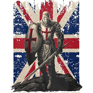 The Crusader T Shirt - I Fear No Evil - Knight Templar United Kingdom Flag by Nonatee