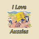 After the Rain Australian Shepherd Painting by Barbara Applegate