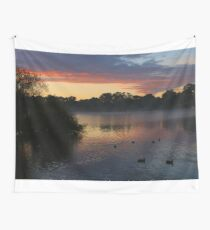 Ducks at dawn on the river Wall Tapestry