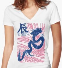 The Dragon Chinese Zodiac Sign Women's Fitted V-Neck T-Shirt