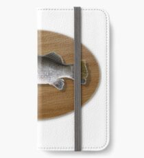 Digitally generated image of a mounted fish trophy on a wooden plaque  iPhone Wallet/Case/Skin