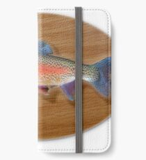 Digitally generated image of a mounted trout trophy on a wooden plaque  iPhone Wallet/Case/Skin