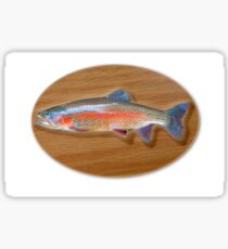 Digitally generated image of a mounted trout trophy on a wooden plaque  Sticker