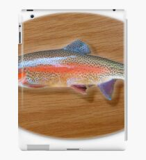 Digitally generated image of a mounted trout trophy on a wooden plaque  iPad Case/Skin