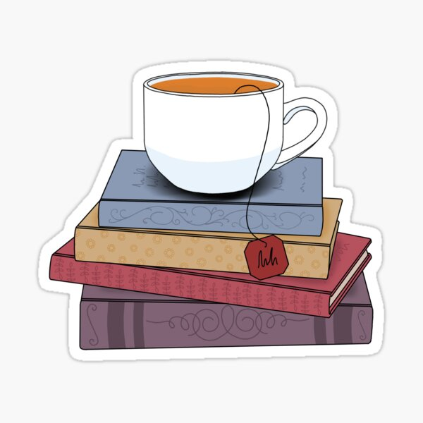 Tea and books  Sticker