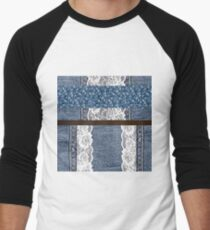 Faux Denim and leather and lace 3 Men's Baseball ¾ T-Shirt
