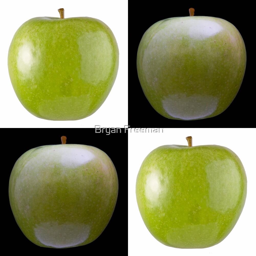 White & Black - Green Apples by Bryan Freeman