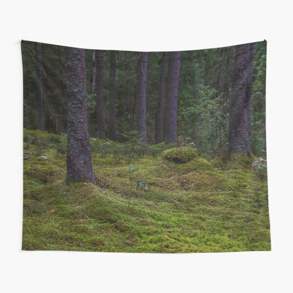 Deep, Dark Green Forest In Latvia Tapestry