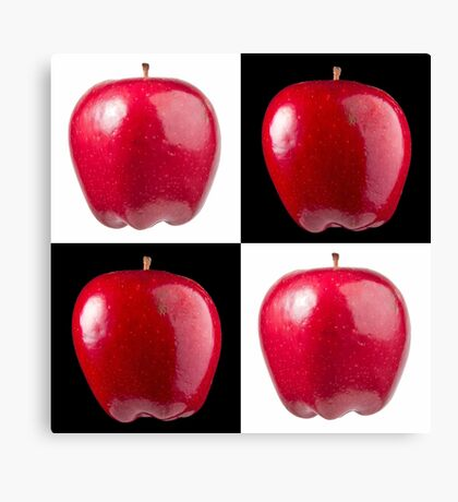 White & Black - Red Apples Canvas Print