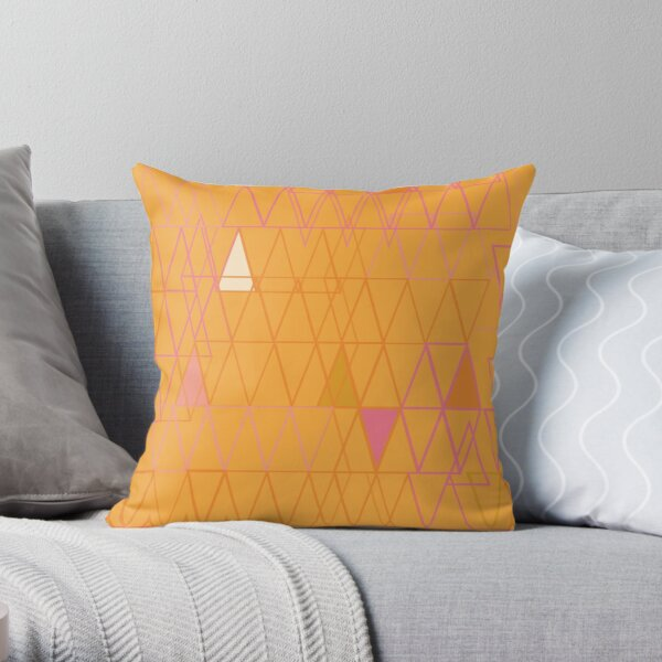 Orange Triangle Geometric Throw Pillow
