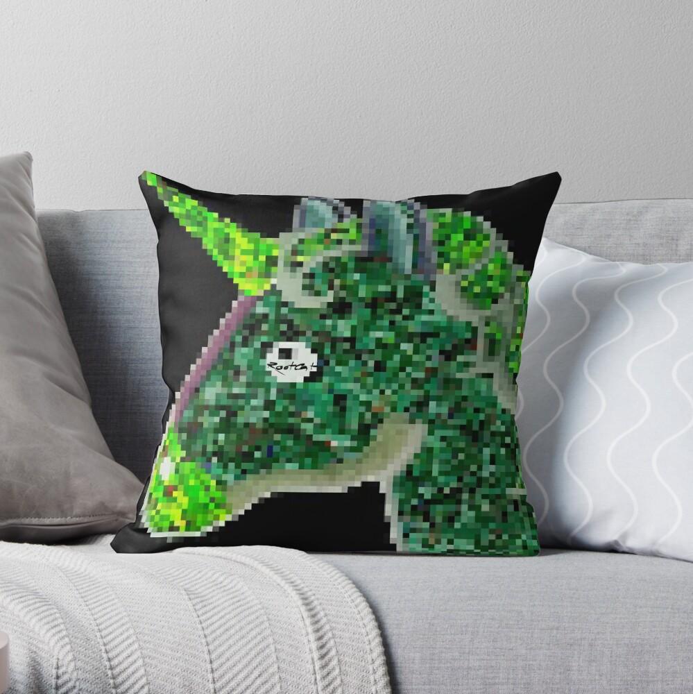 Green RootCat's Unicorn II Throw Pillow