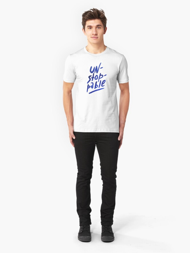Alternate view of Unstoppable -  watercolor lettering Slim Fit T-Shirt