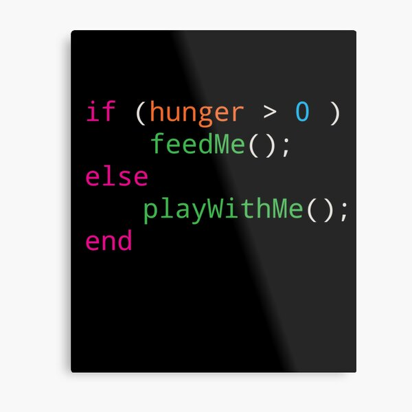 Programmer source code hungry or playing Metal Print