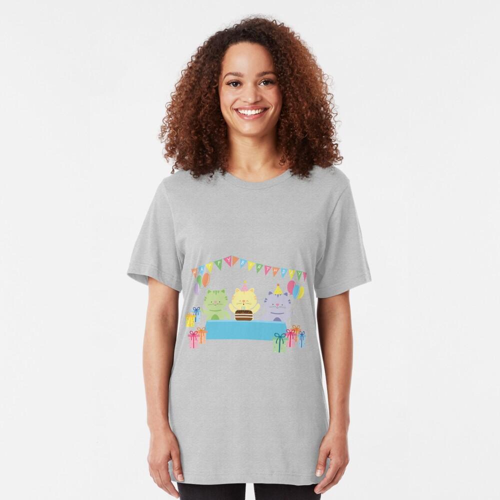 Happy Cat Birthday! Slim Fit T-Shirt