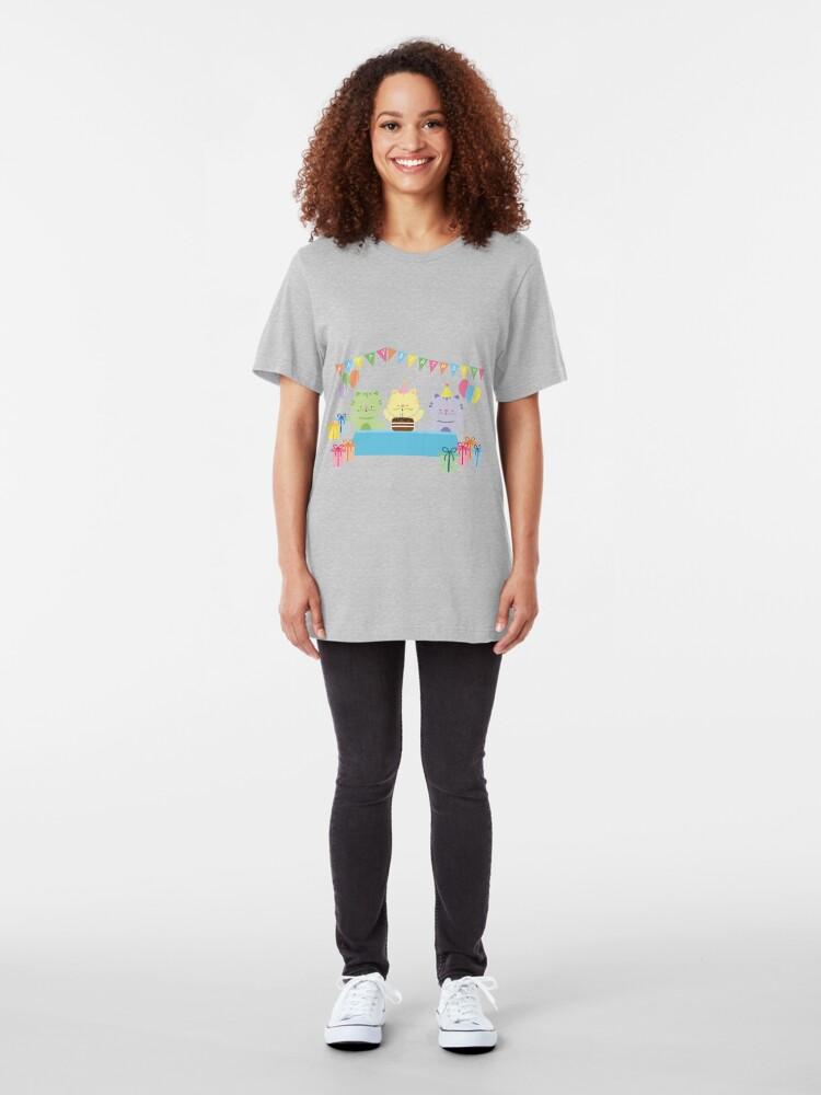 Alternate view of Happy Cat Birthday! Slim Fit T-Shirt