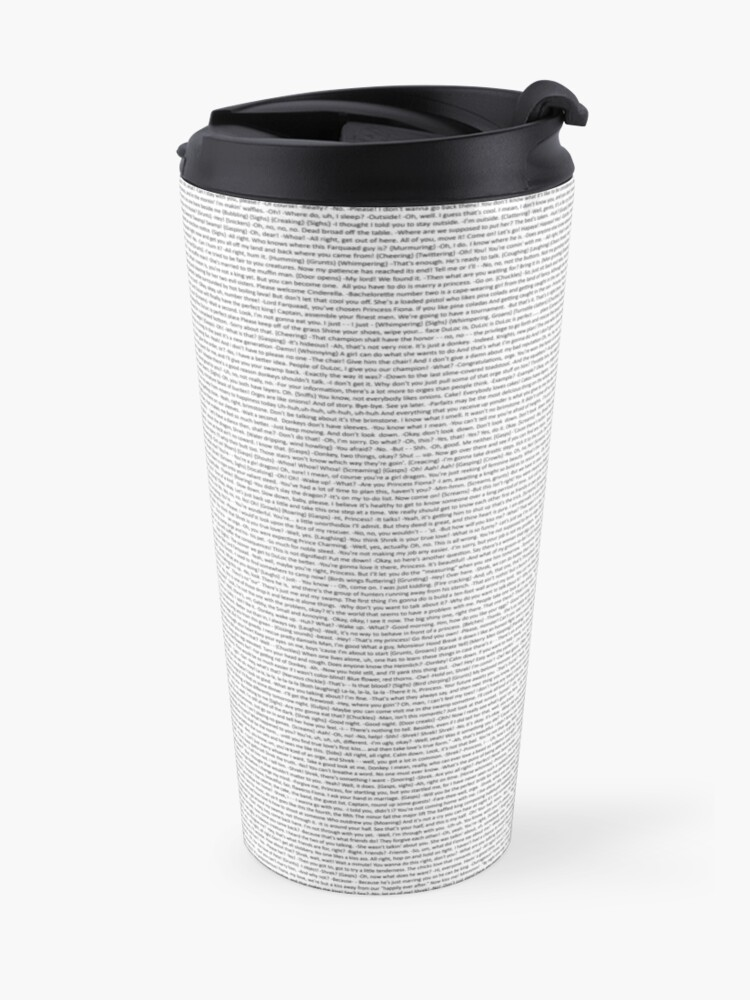 Alternate view of entire shrek script Travel Mug