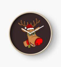 Santa Reindeer - Xmas - Christmas Red Noise Reindeer Clock