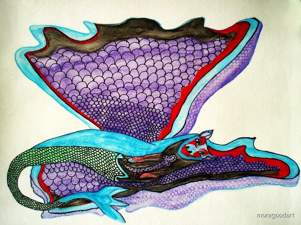 Laying Dragon by moregoodart