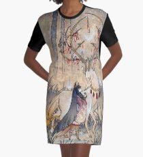 The Wish - Kitsune Fox Deer Yokai Graphic T-Shirt Dress