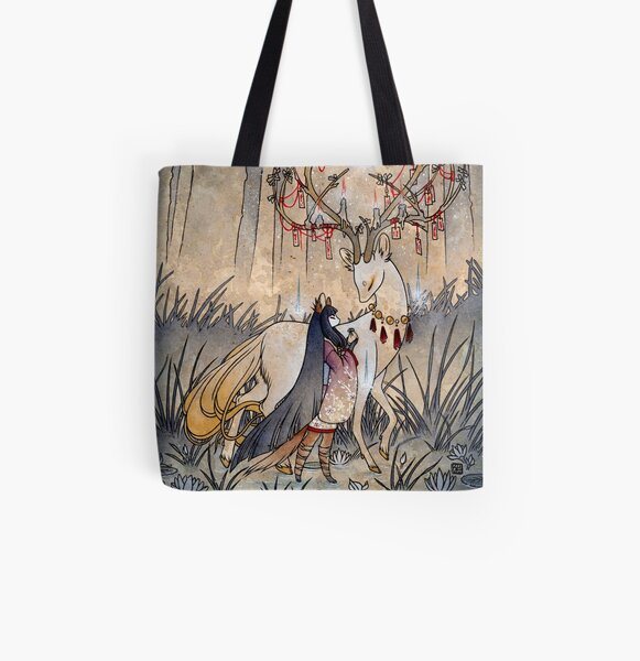 The Wish - Kitsune Fox Deer Yokai All Over Print Tote Bag