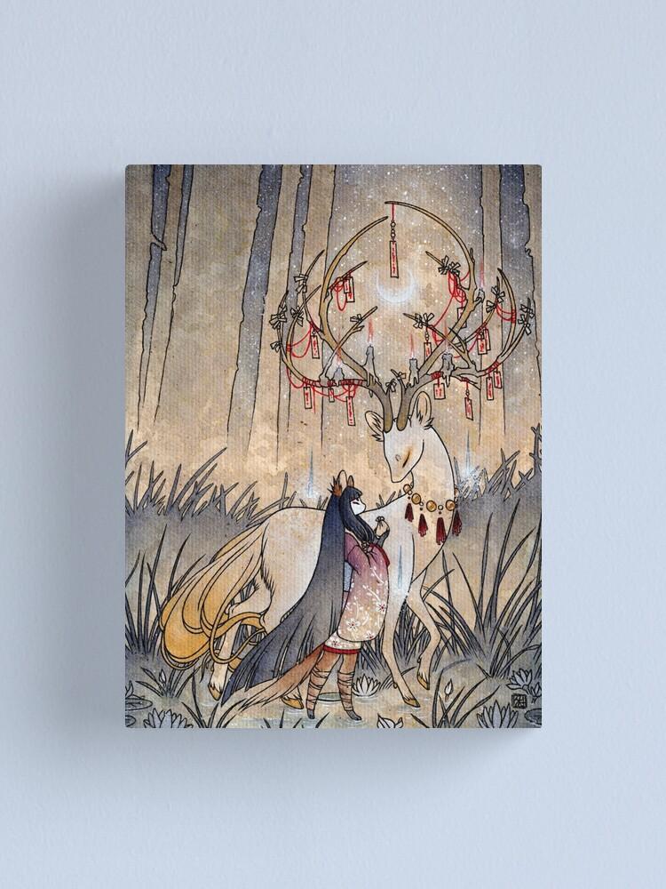 Alternate view of The Wish - Kitsune Fox Deer Yokai Canvas Print