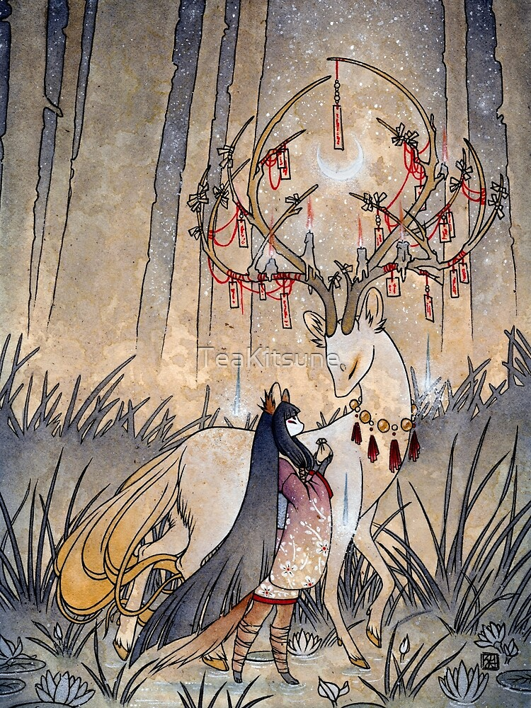 The Wish - Kitsune Fox Deer Yokai by TeaKitsune