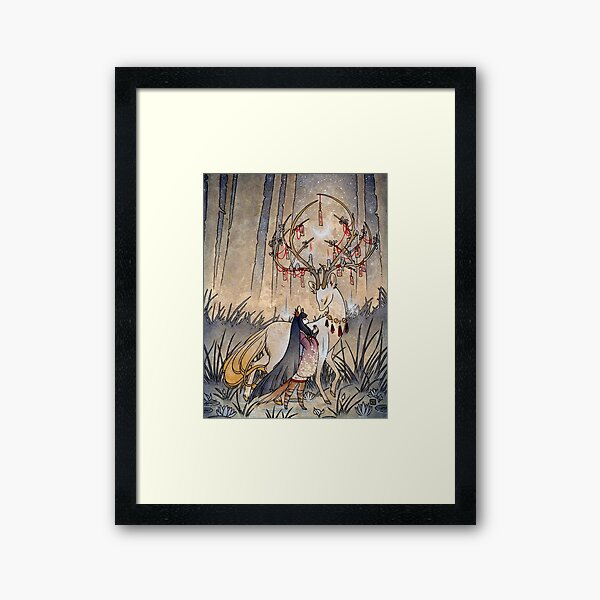 The Wish - Kitsune Fox Deer Yokai Framed Art Print