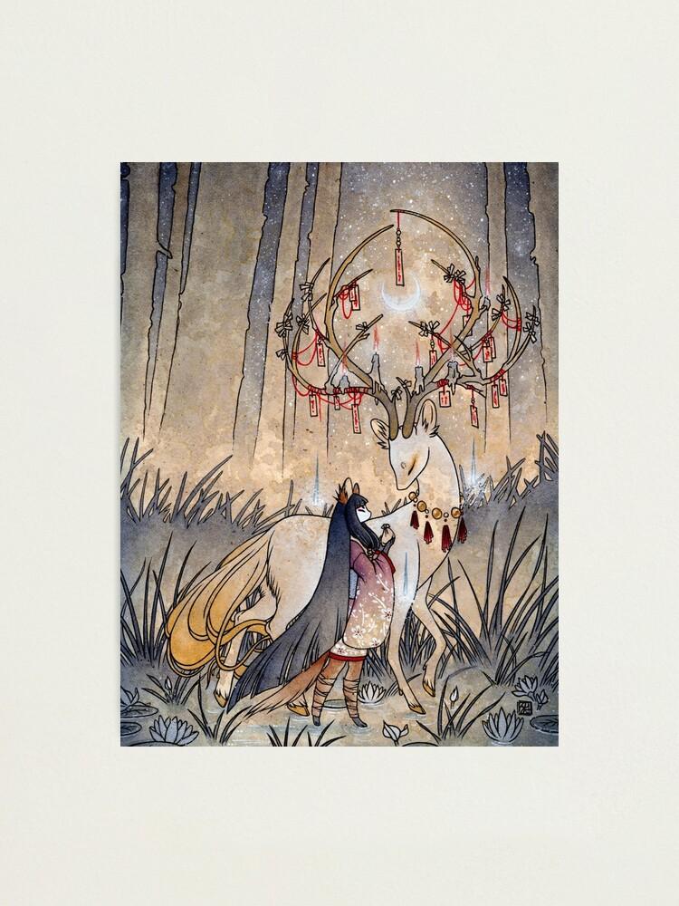 Alternate view of The Wish - Kitsune Fox Deer Yokai Photographic Print