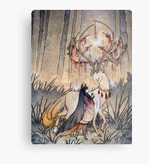 The Wish - Kitsune Fox Deer Yokai Metal Print