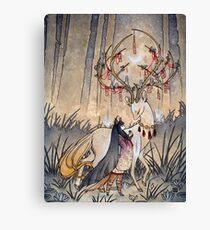 Der Wunsch - Kitsune Fox Deer Yokai Leinwanddruck