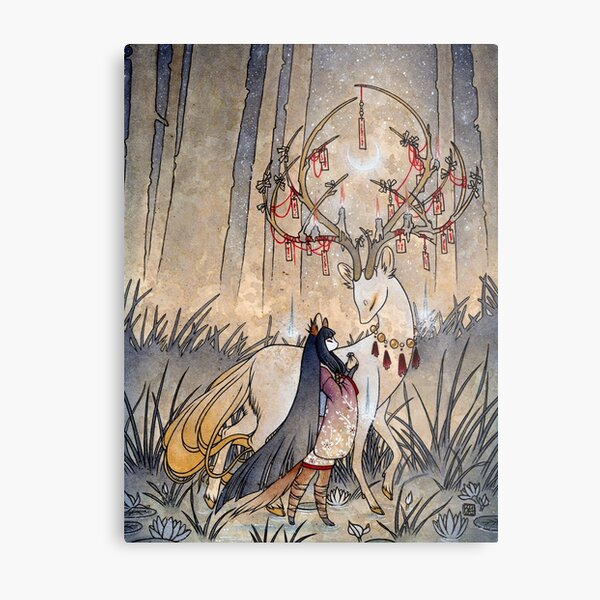 The Wish - Kitsune Fox Deer Yokai Metal Print